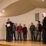 Cérémonie des voeux 2016 : C. Malavieille, A. Astruc et le Conseil Municipal.