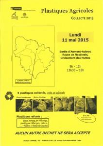 Affiche de la collecte des plastiques agricoles à Aumont-Aubrac.