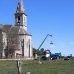 Réfection du clocher de l'église. de Javols en Lozère.