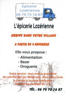 """Affiche de l' """"épicerie Lozèrienne"""", commune de Javols."""