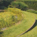 Exemple d'espaces végétaux aménagés avec séparation en bois. Image Navecth Architectes/ Atelier Extra-Muros.