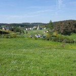 Le bourg de Javols vu du lotissement du Devès.