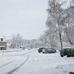 Place de Javols sous la neige en Lozère