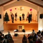 Christian Malvieille, Alain Astruc et le Conseil Municipal sur scène, cérémonie des voeux 2014 à Javols