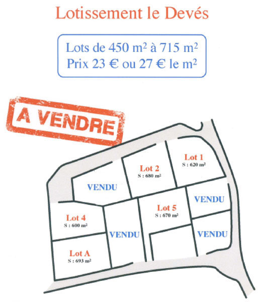 plan du lotissement du  Deves